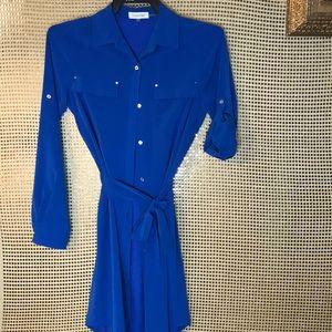Calvin Klein Blue Button Down Shirt Dress